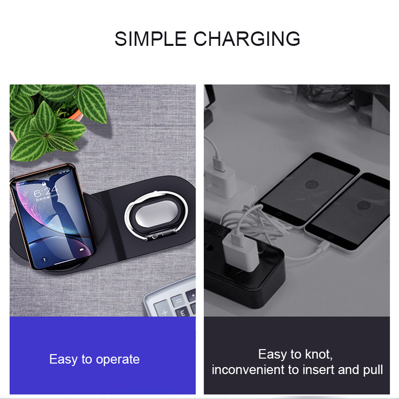Image 5 - Wireless Charger 3 In 1 Fast Charging 10W QC 3.0 Mobile Phone Charger for Iphone Apple Watch IWatch Airpods Charger Station DockWireless Chargers   -