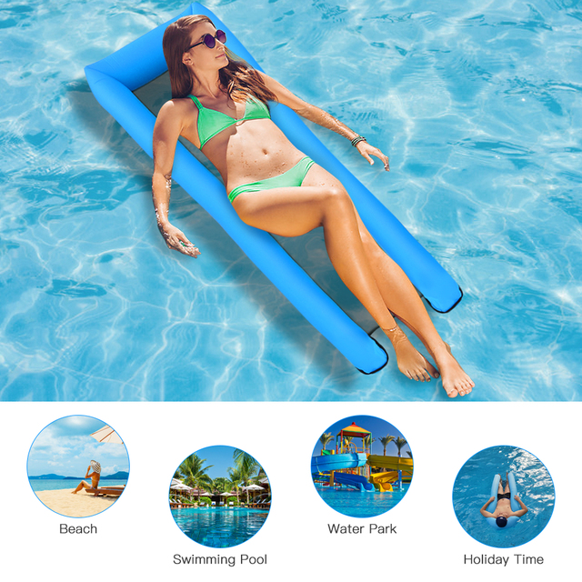 2020 New Fashion Swimming Pool Inflatable Floating Water Hammock Lounge Chair Water Summer Toy Floating Floats Bed Chaise Longue 1