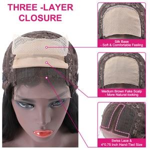 Image 4 - Unice saç 13*4 brezilyalı düz tutkalsız dantel ön İnsan saçı peruk ile bebek saç ön koparıp 5x5 HD dantel kapatma peruk kadın