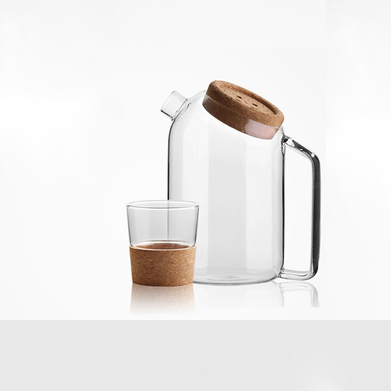 سعة كبيرة غلاية زجاجية كوب ماء مجموعة الفلين مكافحة الساخنة مقاومة للحرارة عصير قدر للحليب (لبّانة) مع مقبض إبريق الشاي أواني المطبخ