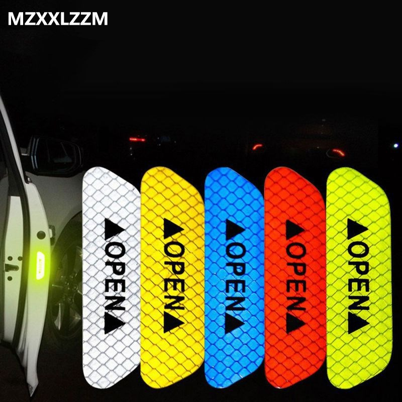 4pcs / Set Car Door Stickers Open Reflective Warning Stickers Car Security Warning  Decoration Night Lighting Auto Accessories