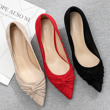 2020 Red Wedding Shoes Small Thin High Heels Shoes Woman 3.5cm Pointed Toe Pleated Elegant Solid Flock Sexy Casual Slip On Pumps