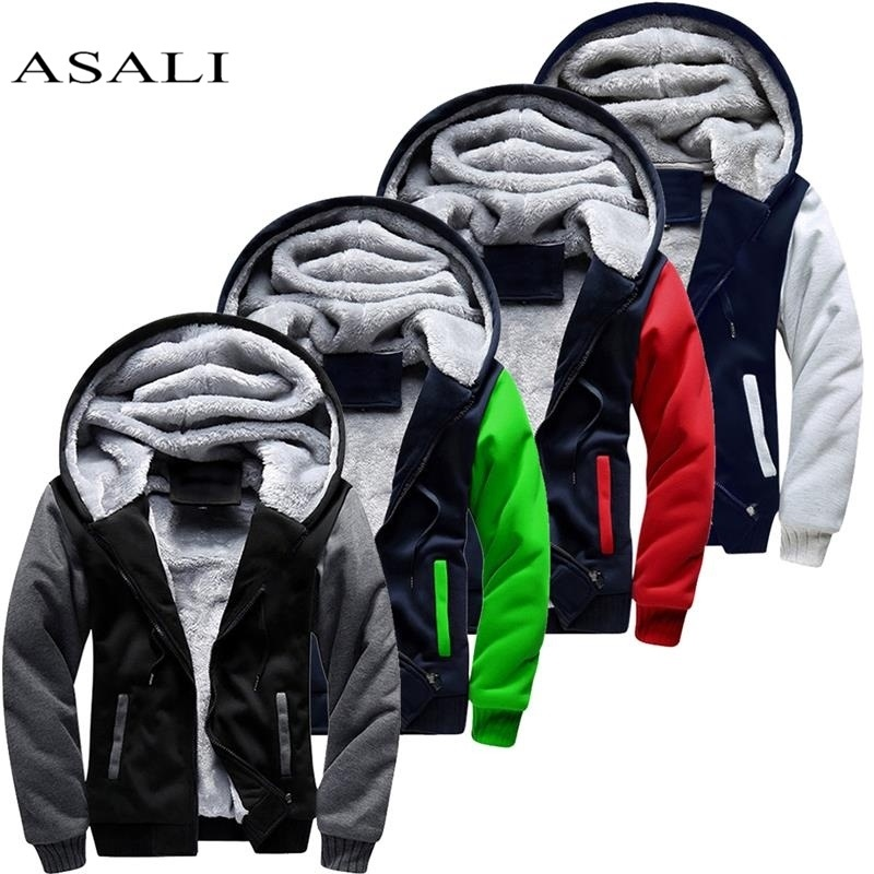 Winter Men Jackets Fleece Warm Hood Thick Parka Velvet Windproof Coats Cardigan Sweatshirts Hoodies Zipper Men Hoodie Jacket(China)