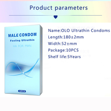 OLO Condom 10 Pcs Ultra Thin Lubricated Penis Sleeve Sexy Tools for Men Natural Latex Sex Toys Adult Products Shop Condones