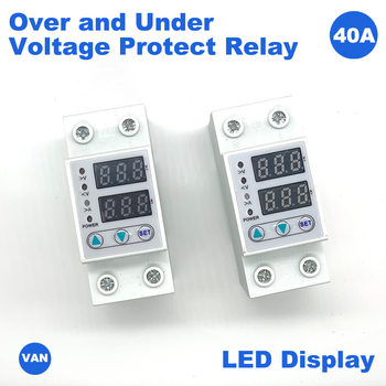 цена на House LED40/63A Adjustable Protection Over and Under Value Automatic High and Low Voltage Protect Relay Limit Current Protection