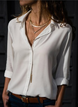 Women White Blouses Basic Selling Button 3