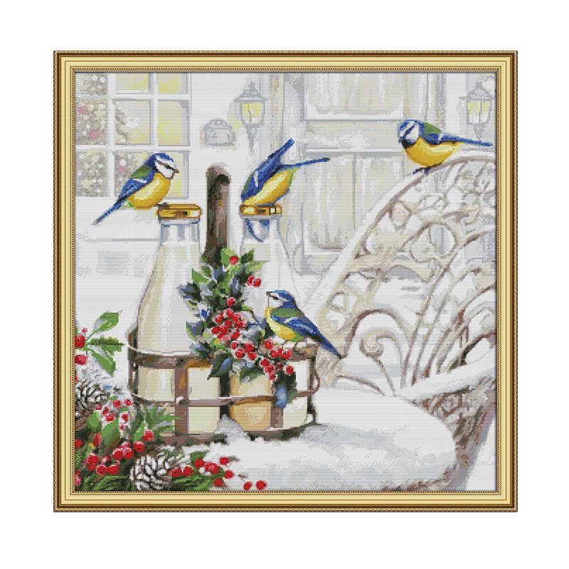 Набор для вышивки крестиком птицы на бутылке с молоком, Aida 14ct 11ct, Набор для вышивки крестом на холсте, ручное украшение дома