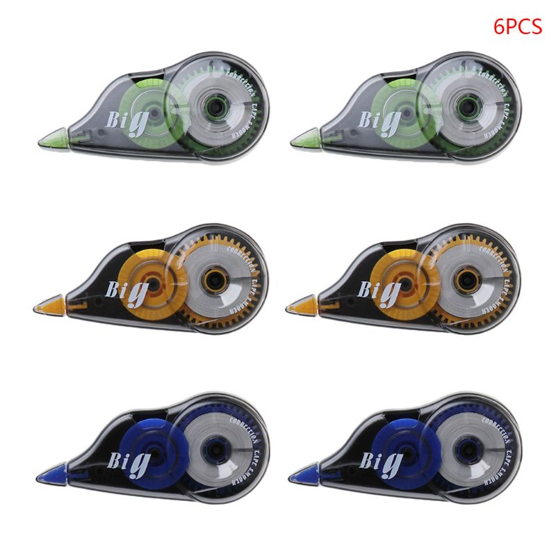 6pcs/set Practical Correction Tape Roller 12m Long White Sticker Study Stationery Office Tool School Supplies
