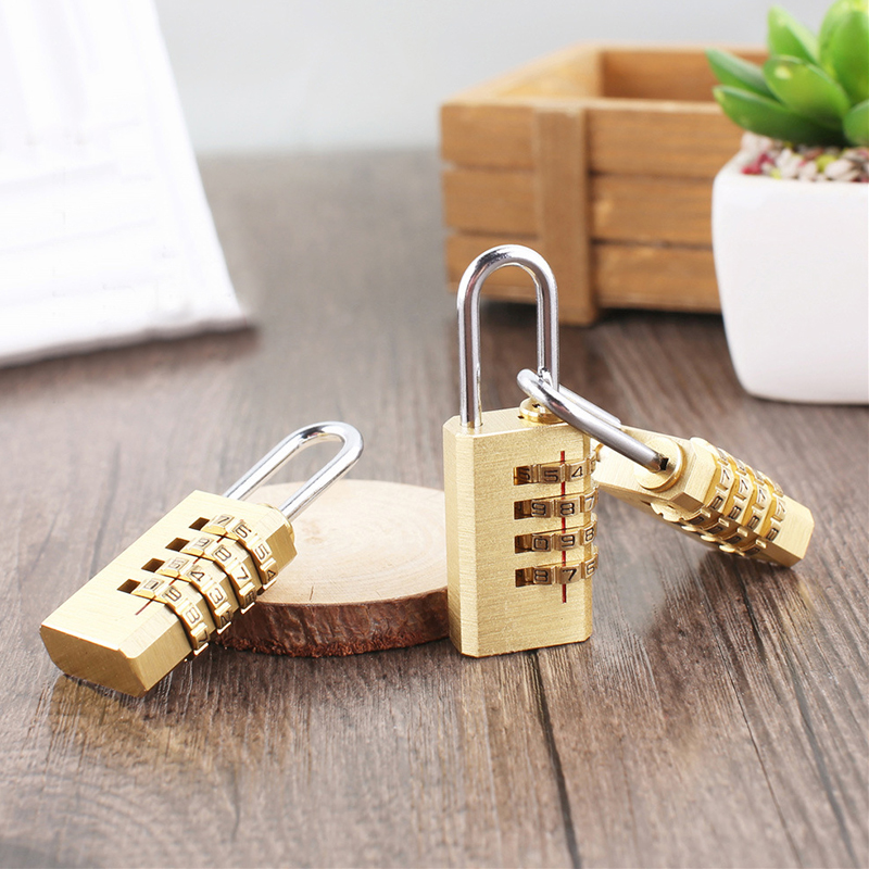Mini Copper 4 Digits Number Password Code Lock Combination Padlock Resettable For Travelling Bag Door Convenient Safe Protection