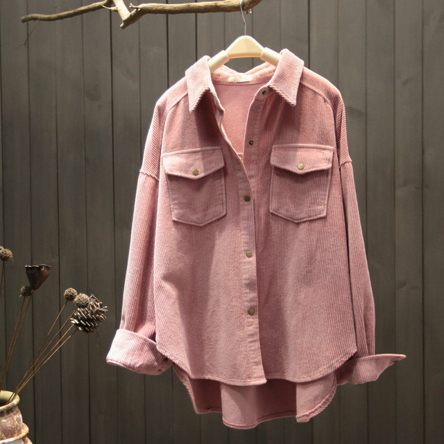 2021 New Spring Autumn Women Elegant Corduroy Pockets Top Blouse Office Ladies Retro Button Solid Long Sleeve Outwear Shirt A131 1