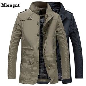 Image 1 - Classic Long Men Trench Coat For Summer Thin Male Casual Khaki Zipper 2019 Windbreaker Streetwear Outerwear Baggy Varsity Jacket