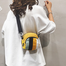 2020 New Women's Bag Korean Canvas Bag Women Fashion Stripe Contrast Student Shoulder Messenger Bag contrast stripe knot tee