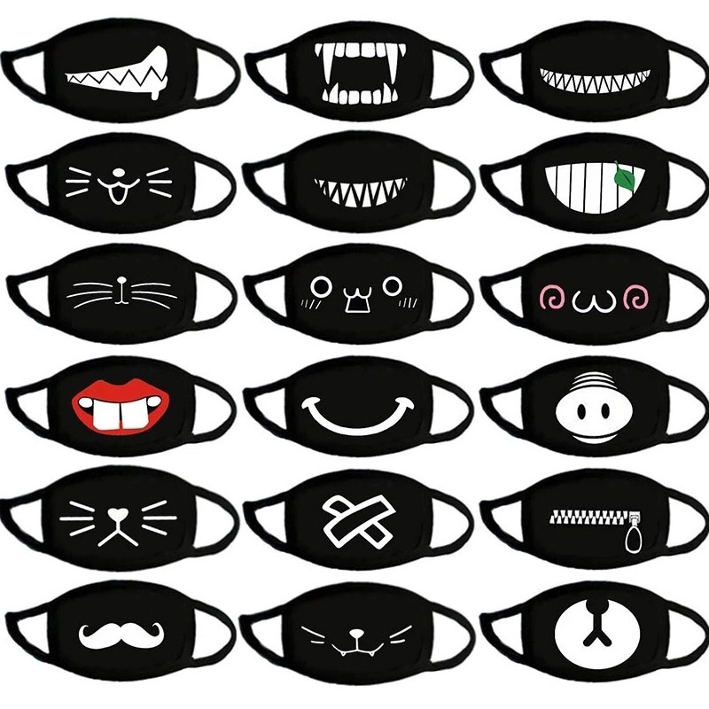 Fashion Funny Cotton Anti Dust Masks Warm Cartoon Patten Face Mouth Mask Unisex Banquet Party Muffle Respirator Dustproof Gift
