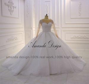 Image 2 - Amanda Design hochzeit Crystal Bling Bling Sparkle Wedding Dress with Sleeves