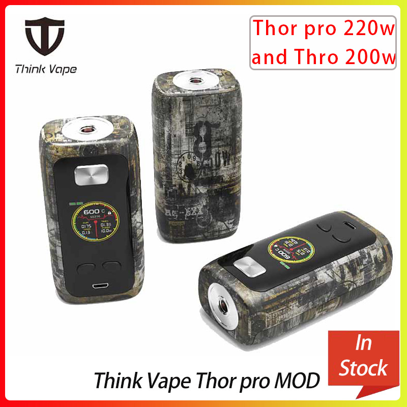 Think Vape Thor Pro MOD 220w &thor 200w Dual 18650 Electronic Cigarette Mod VW/TC/Bypass Modes TFT Screen 510 Thread Vape Mod
