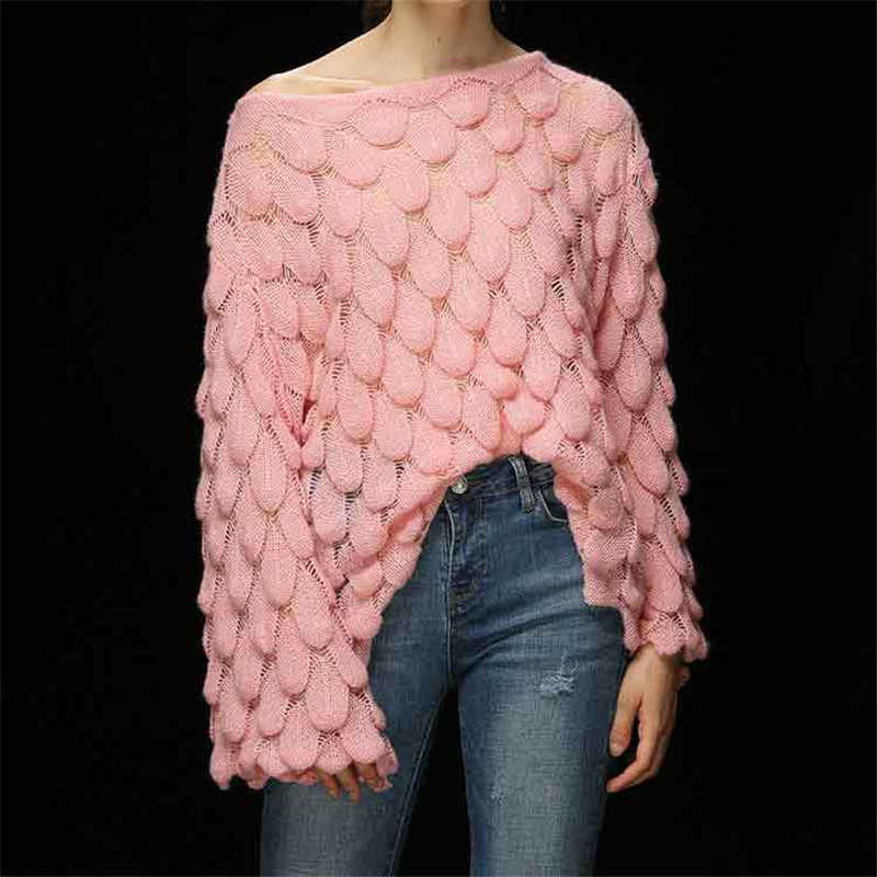 Fashion Wave Ruched Sweater Winter O-neck Women's Sweater Warm Lady's Pullover 2019 Jumper Loose Casual Lantern Sleeve Sweater