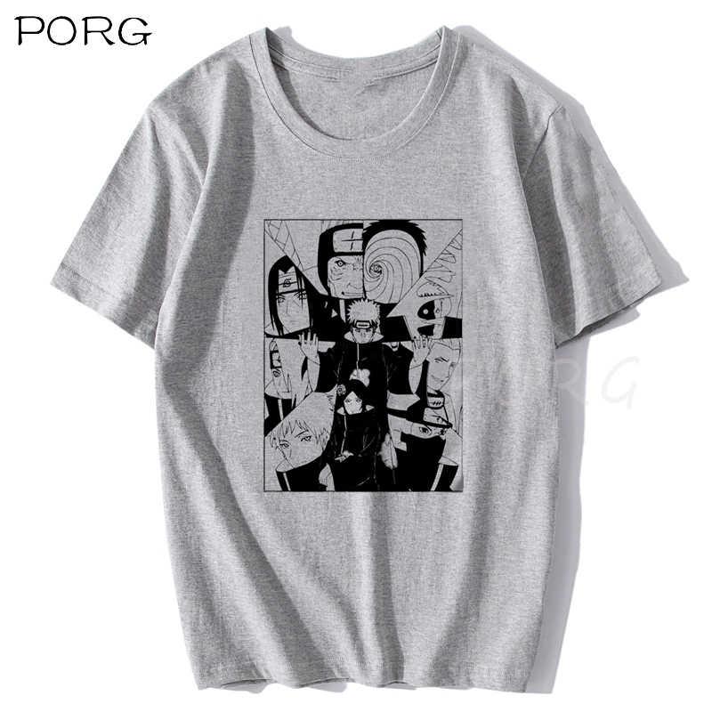 ナルト暁たペイン白tシャツ男性綿オムアニメシャツ漫画日本ストリート原宿ファッションoネックメンズtシャツ