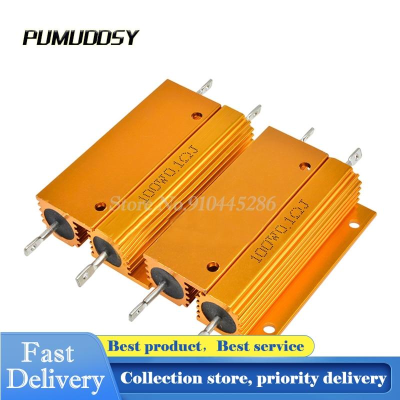 100W de Alumínio Shell Power Metal Caso Wirewound Resistor 0.01 ~ 100K 0.05 0.1 0.5 1 2 4 6 8 10 20 100 150 200 500 K K ohm RX24 10 1