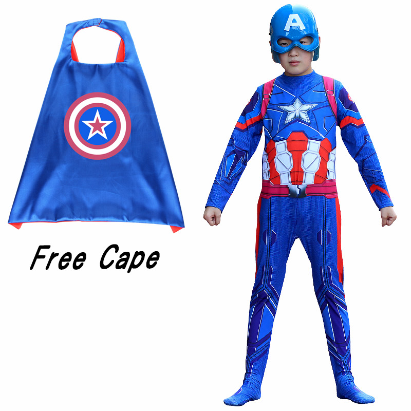 New Halloween Superhero Kid Captain America with cape Costume Avengers Child Cosplay Superhero Costumes For Kids Boys Girls S XL