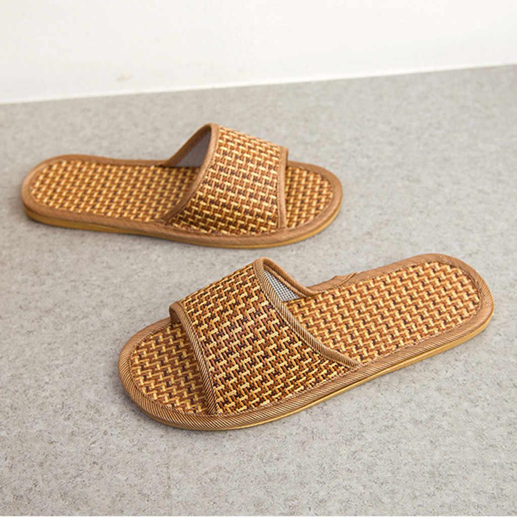Zapatillas Unisex a la moda para hombre y mujer, zapatillas de caña para el hogar, zapatos de interior, sandalias y zapatillas de bambú de verano para el hogar, 30 Oct