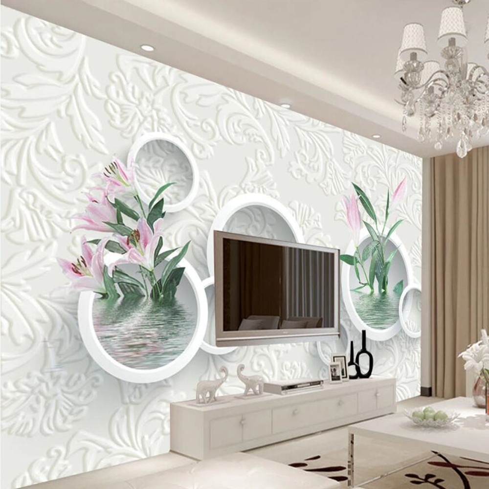 Milofi Custom Large Wallpaper Mural 3D Modern Fashion Embossed Lily Flower Background Wallpaper Mural