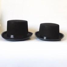 Magic Fedora Hats Black Children Costume Props Tall Flat Hats for Men