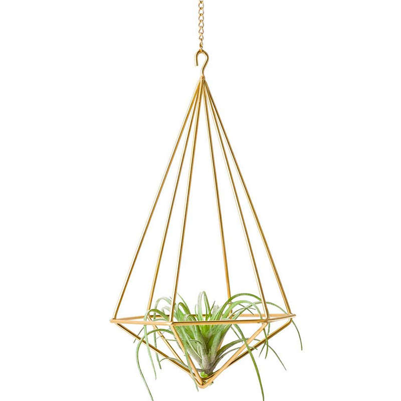 Hanging Air Plant Holder Modern Geometric Planter With Chain Tillandsia Container Himmeli Wall Decor  Gold|Hanging Baskets| |  - title=