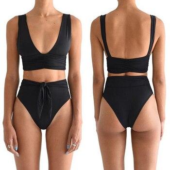 ZTVitality Fold Push Up Bikini 2020 Hot Sale Black Padded Bandage Bikinis High Waist Swimsuit Sexy Biquini Female Swimwear Women 3
