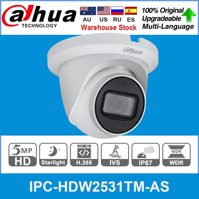 Emplacement pour carte SD micro intégré Dahua IPC HDW2531TM AS 5MP POE H.265 + 30M IR IVS WDR Onvif IP67 caméra IP pour globe oculaire |