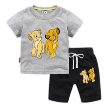 Children Clothing Shorts King-Guard Lion Baby Girls Kids Boys Summer T-Shirt Sport-Suit