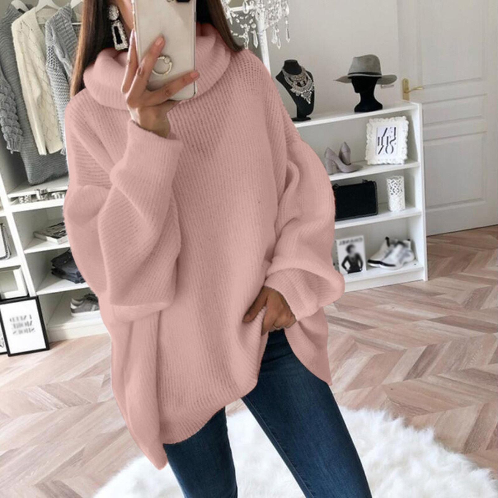 4# Women Sweater Pullovers Pull Femme Hiver Solid Casual O neck Shoulder Pocket Knitted Sweater Knitwear Top Winter Clothes