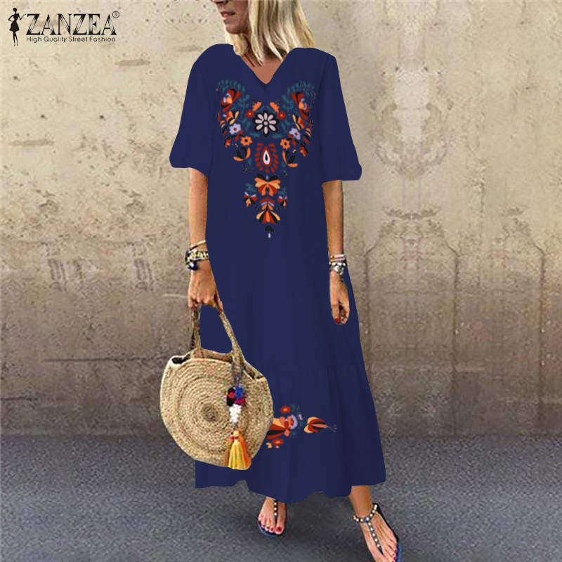 Bohemian Printed Maxi Dress ZANZEA 2019 Women's Sundress Summer Casual V-Neck Ruffle Vestidos Female Short Sleeve Floral Robe