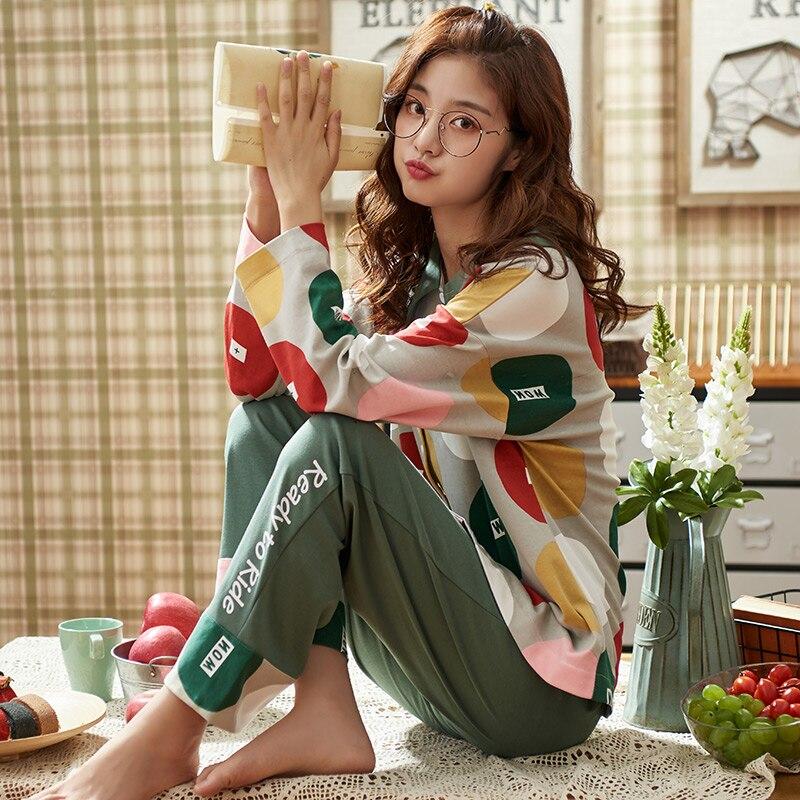 BZEL New Spring Autumn Sleepwear Sets Kawaii Cartoon Pajama Suit For Women Soft Cotton Ladies Home Wear Large Size Pijama Pyjama