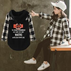 Image 3 - Mädchen Schule Blusen Herbst Frühling 2020 Kinder Hoodies Plaid Shirt Langarm Brief Drucken Tops für Kleinkind Baby Kinder Kleidung