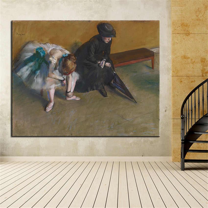 ענק דיוקן הדפסת שמן ציור קיר אמנות תמונה אדגר Dega מחכה בית דקורטיבי אמנות תמונה לסלון קיר לא מסגרת