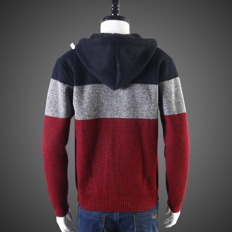 High Street Men Hooded Short Coat Casual Sweaters Autumn Thick Warm Knitting Cardigan Sweaters 2020 New Long Sleeve Outerwear