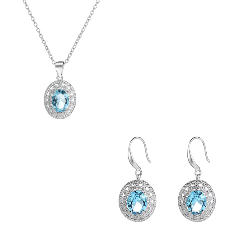 Hot Sale 925 Sterling Silver Round Cut CZ Pendant Necklace+Eararings for Women Clavicle Choker Female Fine Jewelry Set Collares