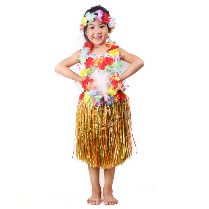 Hawaiian Grass Sort Skirt Flower Hula Lei Garland Fancy Dress Costume 80cm