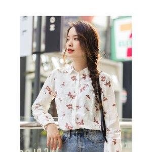 Image 1 - Xã Inman Mùa Đông 100% Cotton Cổ Gập Văn Học Hoa Dài Tay Cho Nữ Áo