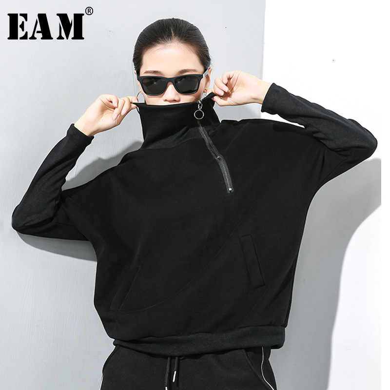 [EAM] Women Black Zipper Split Big Size Loose T-shirt New High Collar Long Sleeve  Fashion Tide  Spring Autumn 2020 19A-a251