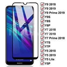 9D templado de vidrio para Huawei Y7 Y9 Y5 primer 2018 de 2019 Y5 Lite de Huawei Y9S Y8S Y8P Y7S Y7P Y5P Protector de pantalla