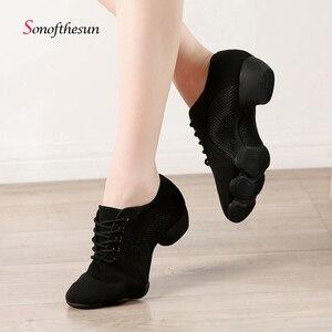 Image 1 - Танцевальные туфли унисекс, дышащие, сетчатые, для джаза, балетных, латинских танцев, женские кроссовки для фитнеса
