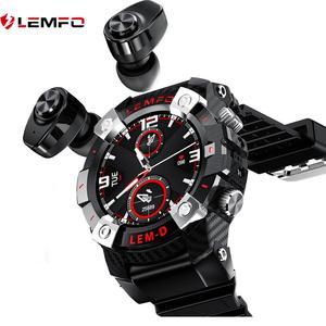LEMFO-reloj inteligente LEMD para hombre, deportivo con TWS, Android, auriculares duales Bluetooth 360*360 HD, Batería grande de 350MAh, varios idiomas