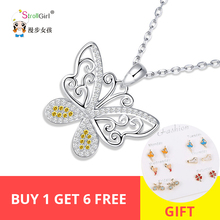 Romantic 100% 925 Sterling Silver Cute butterfly CZ Necklaces Pendants for Women DIY Jewelry Valentine's Day gift on sale недорого