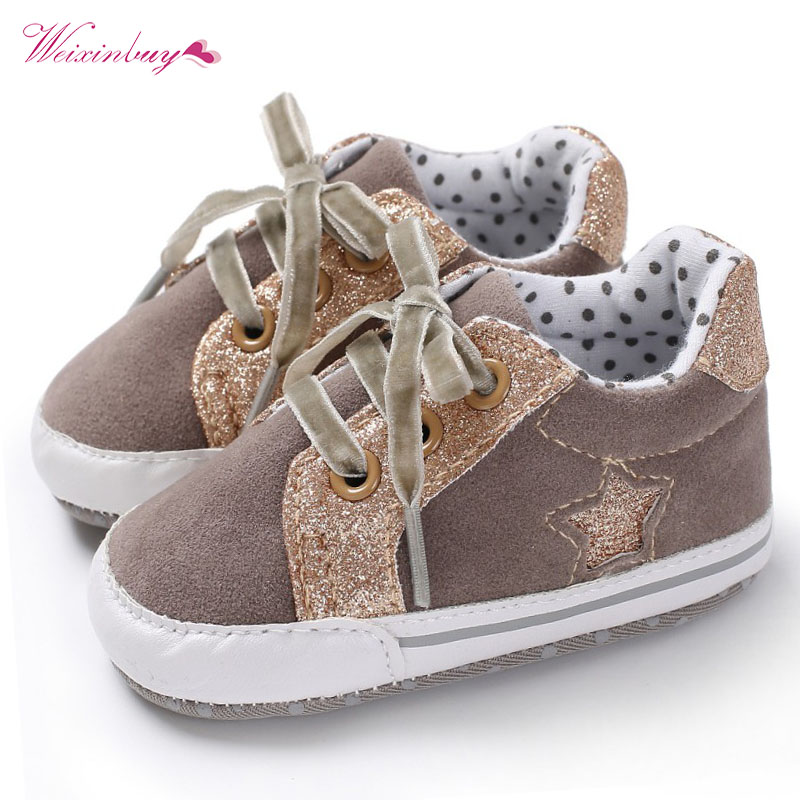 Casual Sequin Baby Boy Shoes Heart Star Print First Walkers PU Matte Soft Sole Lace Up Infant Boys Sports Shoe Moccasins