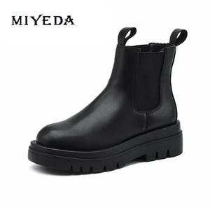 Black Platform Winter Women's Shoes Martin Boots Breathable British Style Fashion Ins Cool Low Heel Ankle Chelsea Boots