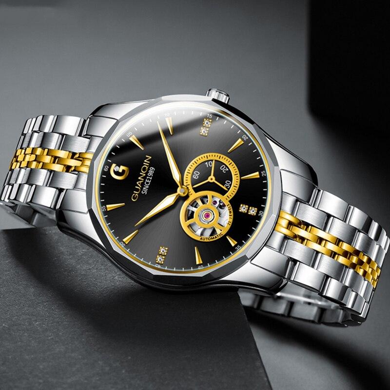 GUANQIN Design Top Brand Luxury Automatic Watch Men Fashion Japan Waterproof Mechanical Watch Men Tungsten Steel Business Sport