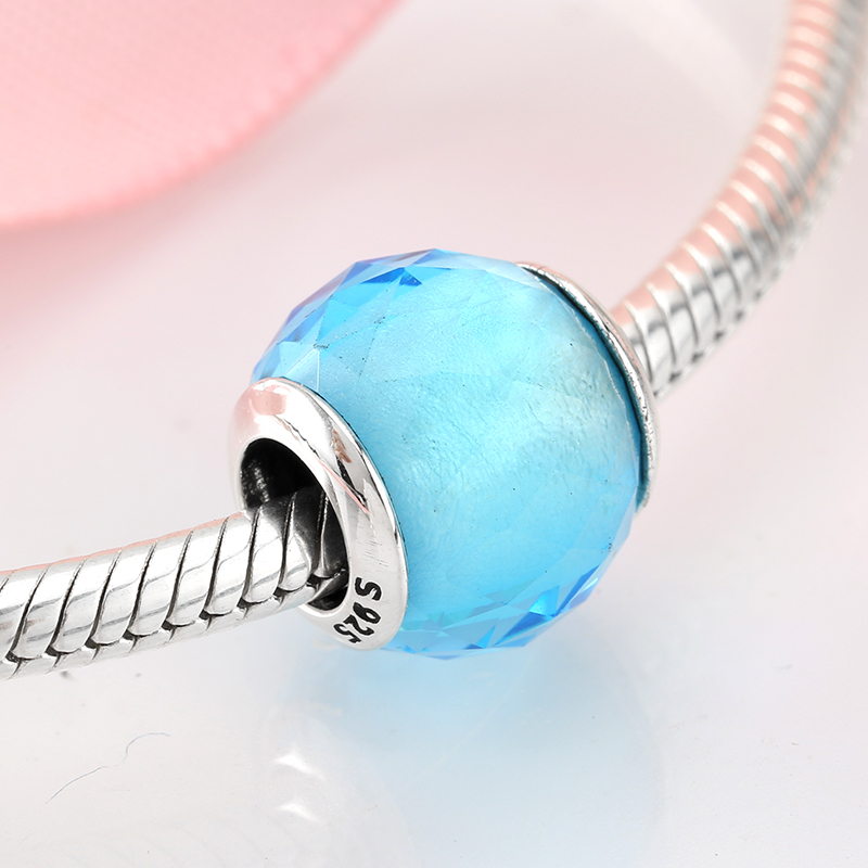 925 Sterling Silver Handmade zig-zagging design Blue Looking Murano Glass Charm Beads Fits All European DIY Bracelets Necklaces