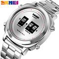 SKMEI Модные кварцевые мужские часы запатентованный дизайн наручные часы водонепроницаемые простые барабанные часы из нержавеющей стали ...