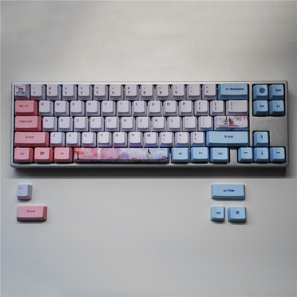 1 set PBT dye sublimation key cap for MX switch mechanical keyboard OEM profile 60% <font><b>keycap</b></font> for Anne GK61/<font><b>68</b></font> GH60 GK64 Varmilo <font><b>68</b></font> image